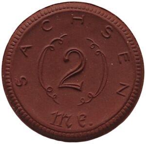 GERMANY PORCELAIN MEDAL MEISSEN 2 MARK 1921 SACHSEN #alb1 435