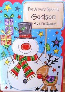 """Fun Modern Snowman & Reindeer """"GODSON"""" Christmas Card"""