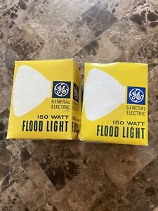 Vintage General Electric 150 WATT FLOOD LIGHT CLEAR NEW IN BOX Lot of 2