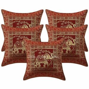 Decorative Elephant Cushion Covers 16 x 16 Ethnic Sofa Brocade Pillow Cases 5 Pc
