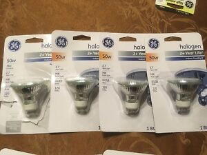 Lot of 11 - 4 GE Halogen 50W  MR GU10 base -120 volts + assorted others see pics