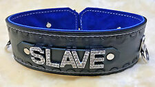 "Custom lockable locking Leather collar 2"" wide any word/name hand stamped"