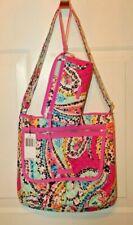Vera Bradley Iconic Mailbag Wildflower Paisley Handbag & Zip Wristlet Wallet NWT