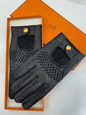 100% Auth Vtg Hermes Black Leather Driver Driving Racing Gloves sz 8 RARE