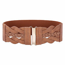 Retro Women Stretch Buckle Waist Belt Wide PU Leather Elastic Waistband S M L XL