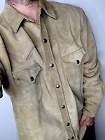 Polo Ralph Lauren XL Leather Shirt Jacket Western RRL Distressed Suede Nubuck