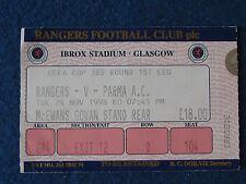 Glasgow Rangers V PARMA - 24/11/98 - 3rd COPPA UEFA biglietto RD 1st Gamba