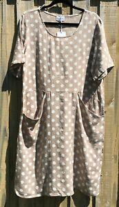 Beige Linen White Polka Dot Front Seam Pocket Dress NWT sizes 10 12 14 16 18