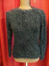 Girls (age 9-10) Navy Blue FLUFFY JUMPER with Sparkly Sequins long sleeve