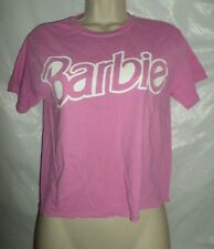 Forever 21 T shirt Crop Top Cropped Classic Barbie LOGO in Pastel Pink Tee MED