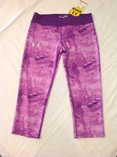 Girls Under Armour HeatGear Anti Odor Capri Leggings Pants Purple LG NWT $35