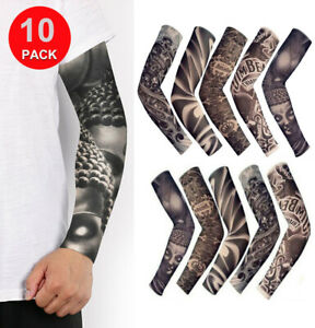 10 Pcs Tattoo Cooling Arm Sleeves Cover Golf Basketball Sport UV Sun Protection