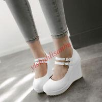 Lady Cute Girls Platform Wedding Buckle Womens Wedge Heel Mary Janes Shoes Pumps
