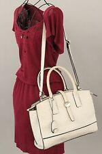 LONDON FOG White and Black Faux Ostrich Print Hand Bag/Shoulder Purse