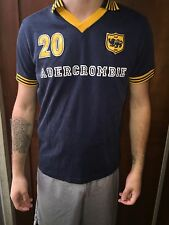 Abercrombie & Fitch Men's Jersey Soccer Navy And Gold Muscle Shirt~Size Small