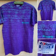 Vintage Monterey All Over Print Shark In Sunglasses & Shirt T-Shirt 80s 90s L