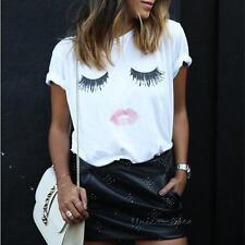Summer Women Short Sleeve Eyelash Lips Loose Tops Blouse T Shirt Plus Size S-5XL