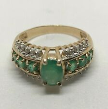 Genuine Emeralds with Diamond ring, SZ 6 3/4,Set in solid 10K Yellow Gold