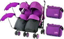 Double Twin Purple Pushchair Buggy inc Footmuffs, Bag, Parasol & Raincover