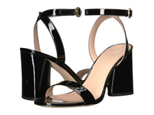 $275  Tory Burch Elizabeth 2 85mm Black  Leather Ankle Strap Sandals Shoes 10