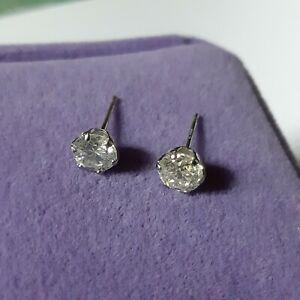 diamond solitaire stud earrings pt900 .61x2