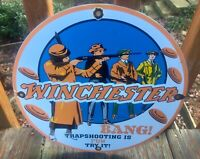 Winchester Ammunition Trap Shooting Porcelain Sign 12""