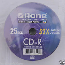 25 x Aone Blanc Jet D'encre Imprimable CDR 52X 80 M 700 Mo