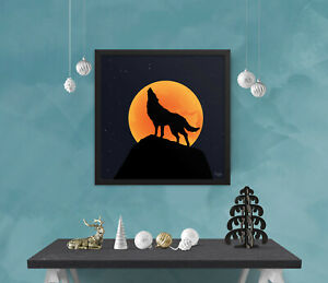 Wall art, Orange moonlight wolf, Framed picture, Home decoration, Full moon