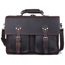 "Men Leather Large Backpack Hiking 16"" Laptop Messenger Bag Heavy Duty Briefcases"