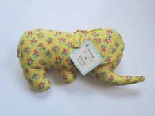 40's vtg style NWT yellow calico ditsy floral elephant baby pillow plush toy
