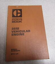 Caterpillar Cat 3512 Vehicular Engine  Parts Catalog Manual 1980 51Y1