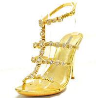 New women's shoes stilettos buckle evening party prom wedding rhinestones gold
