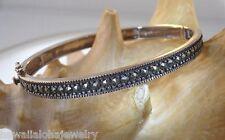 "Vintage 80s Oxidized Sterling Silver Diamante Crystal Rhinestone Bracelet 6.75"""
