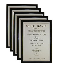 5 Pack of A4 THIN BLACK PICTURE PHOTO CERTIFICATE FRAMES with GLASS