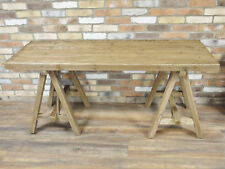 Rustic Wooden Industrial Table Wood Crossed Legs Natural Acacia Outdoor Top New