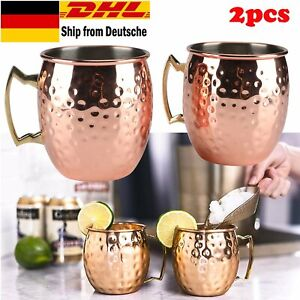 1 Paar Moscow Mule Becher Tassen Kupferbecher Kupfer Cocktailgläser Becher