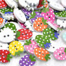 50/100pcs Dots Wood Buttons Strawberry Sewing Craft Mix Lots Wholesales WB336