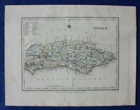 SUSSEX original antique county map, LEWIS, CREIGHTON, Walker 1848