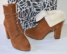 New $450 Diane Von Furstenberg Pacey Burnt Umber/Sport Suede Ankle Boots Brown