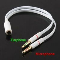 3.5mm Headphone Mic Audio Y Splitter Cable Female to Dual Male Converter Adapter
