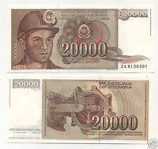 "Yugoslavia 20000 Dinara 1-5-1987 Pick 95 UNC Uncirculated Banknote ""ZA"""