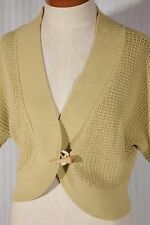 WHITE + WARREN Womens Size M Medium Green Elbow-Sleeve Cotton Cardigan Sweater