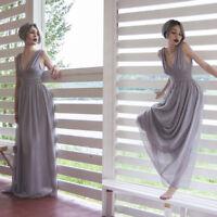 Ever-Pretty US Long Grey Bridesmaid Dresses V-neck Sleeveless Evening Gown 09016