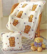 Knitting Pattern Baby's DK Forever Friends Cushion Cover & Blanket (102)