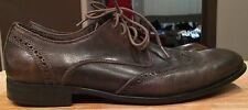 John Varvatos Leather Shoes Dress Style Men's  Wing Tip Oxford Size 8 M Brown