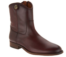 Frye Leather Side Zip Ankle Boots - Melissa Button Short 2 Wine Size 8 NEW