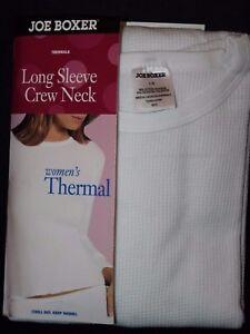 Joe Boxer Women's Long Sleeve Crew Neck Thermal White Shirt Top SM, M, L, XXL