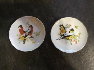Two Vintage Birds Butter Pats Trinket Dishes Mini Plates Gold Trim