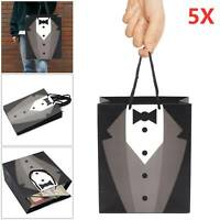 5X Paper Groomsmen Tuxedo Thank You Gift Bags Black Wedding Bridal Party Decor