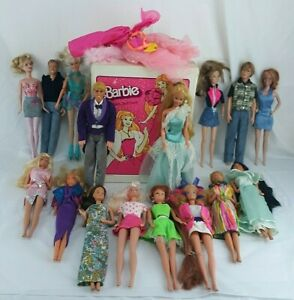 Lot of 16 Vintage Barbie Dolls (and others) 80's + with 1982 Case and Clothing